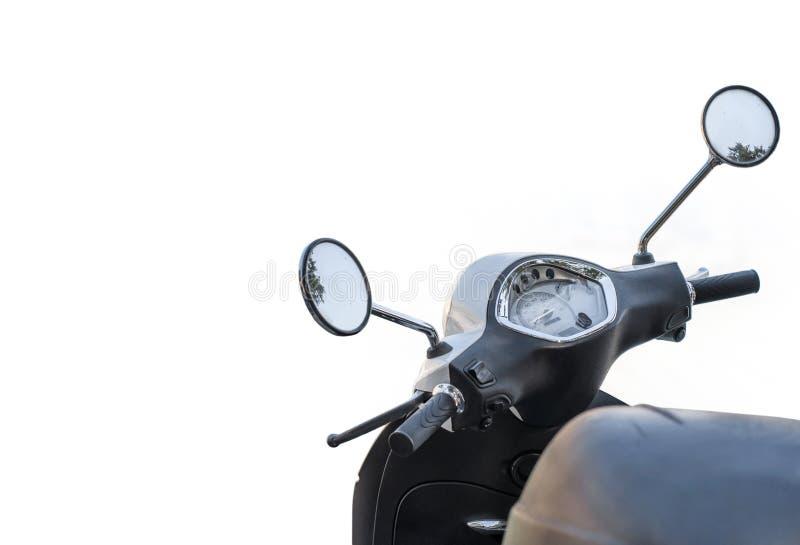 Modern vit skinande motorcykel för isolerat trans. fotografering för bildbyråer