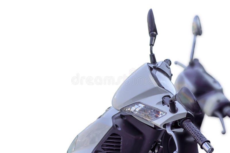 Modern vit skinande motorcykel för isolerat trans. arkivfoto