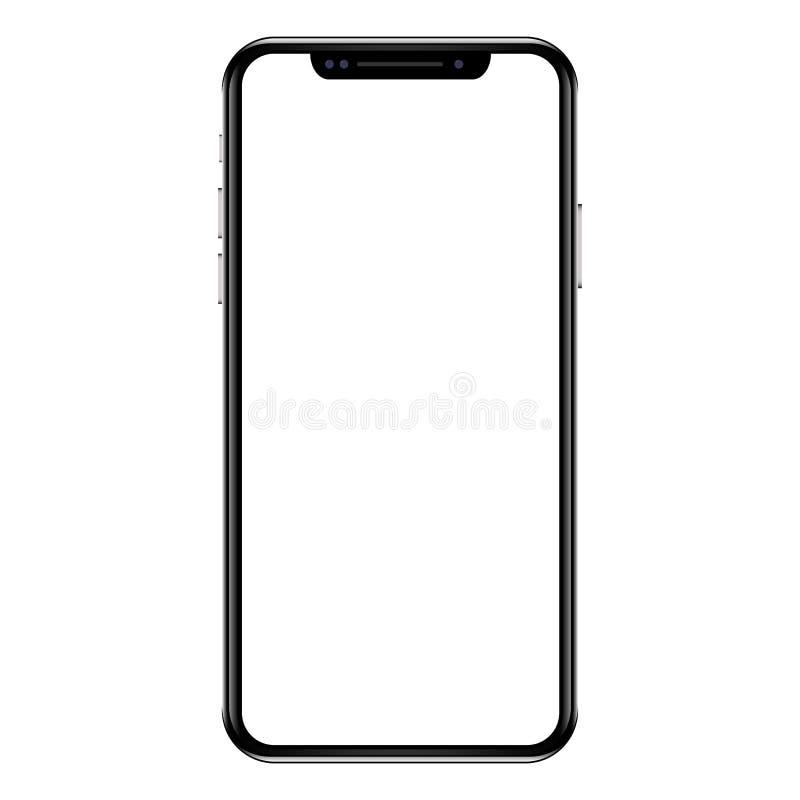Modern vit smartphone för pekskärmmobiltelefonminnestavla som isoleras på ljus bakgrund tom skärm vektor illustrationer