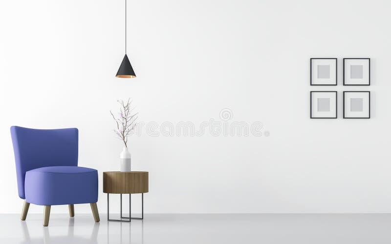 Modern vit vardagsruminre med blå tolkningbild för fåtölj 3d vektor illustrationer