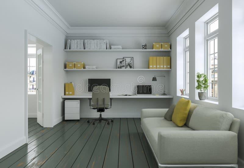 Modern vitgulinginrikesdepartementet med tolkningen för soffainredesign 3d royaltyfri illustrationer