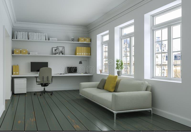 Modern vitgulinginrikesdepartementet med tolkningen för soffainredesign 3d vektor illustrationer