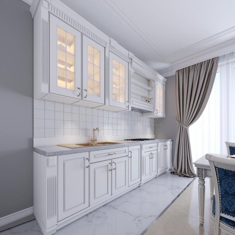 Modern vitt kök i en klassisk stil som är inre med vitt möblemang och gråa väggar Lyxig kökinredesign stock illustrationer