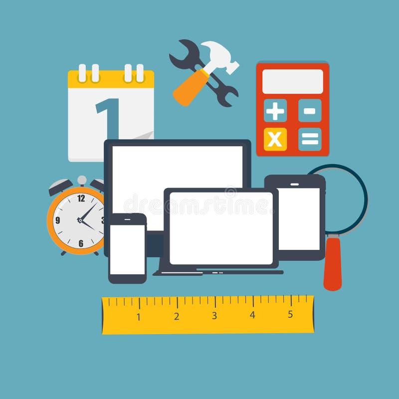 Modern Vlak die Pictogram voor Web en Mobiele Toepassing wordt geplaatst vector illustratie