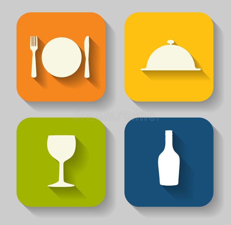 Modern Vlak die Voedselpictogram voor Web wordt geplaatst royalty-vrije illustratie