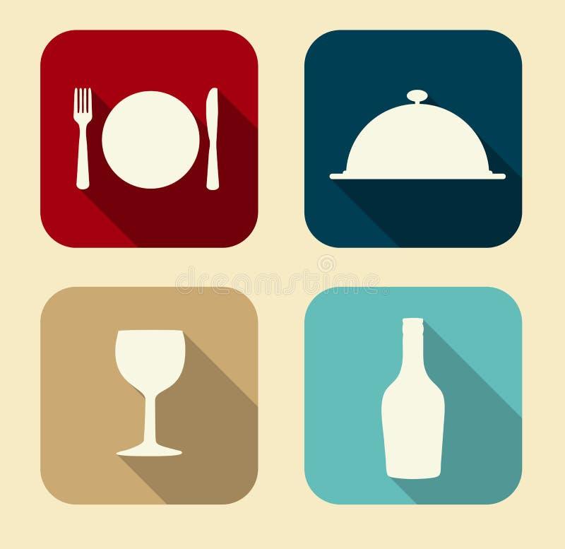 Modern Vlak die voor Web wordt geplaatst en Mobiel Voedselpictogram vector illustratie