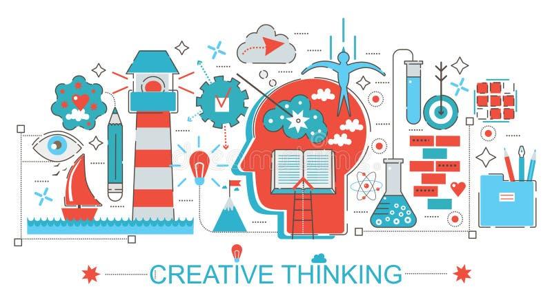 Modern Vlak dun Creatief het denken en de brainstormingsconcept van het Lijnontwerp stock illustratie