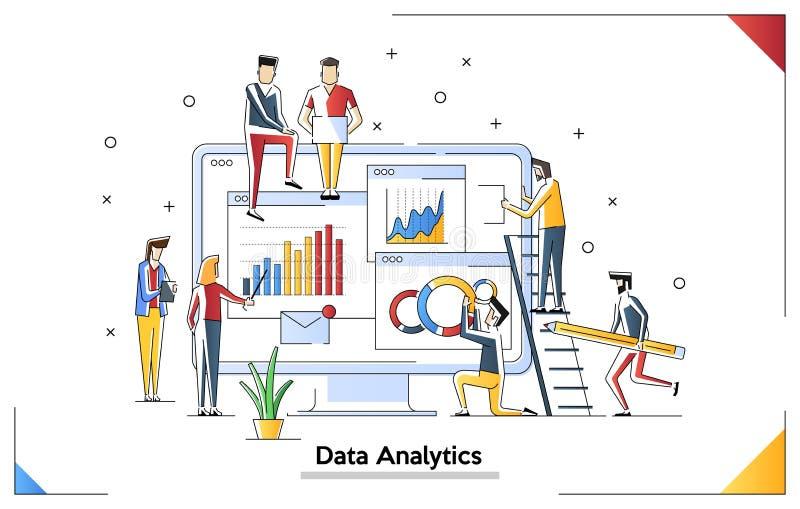 Modern vlak het ontwerpconcept van de gegevensanalyse Analytics en uiterst klein mensenconcept Landend Paginamalplaatje Conceptue stock illustratie