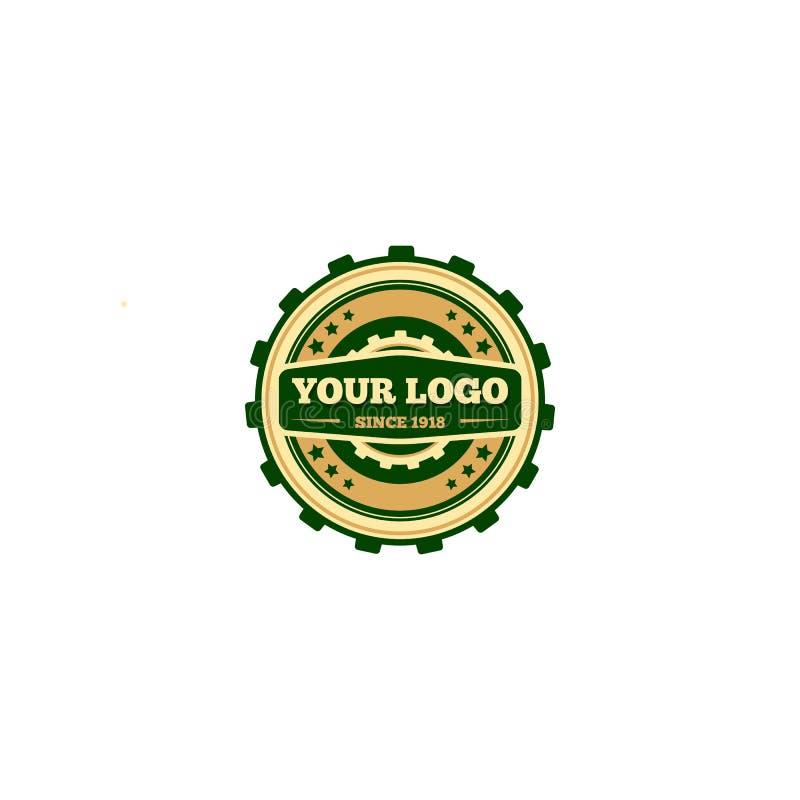 Modern vlak het pictogramconcept van het toestel technisch industrieel embleem Embleem in vorm van toestellentandrad, online Webo royalty-vrije illustratie