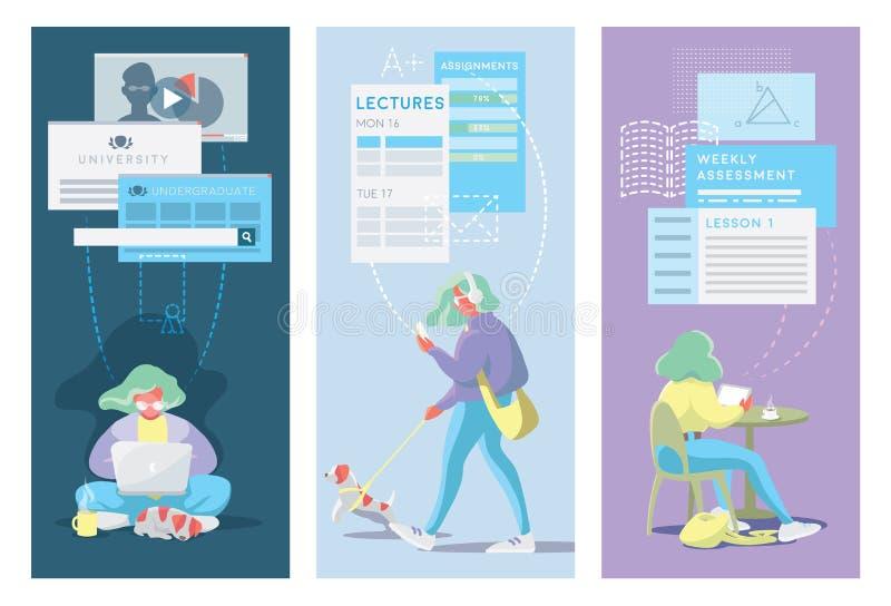 Modern Vlak Ontwerpconcept Online Onderwijs royalty-vrije illustratie