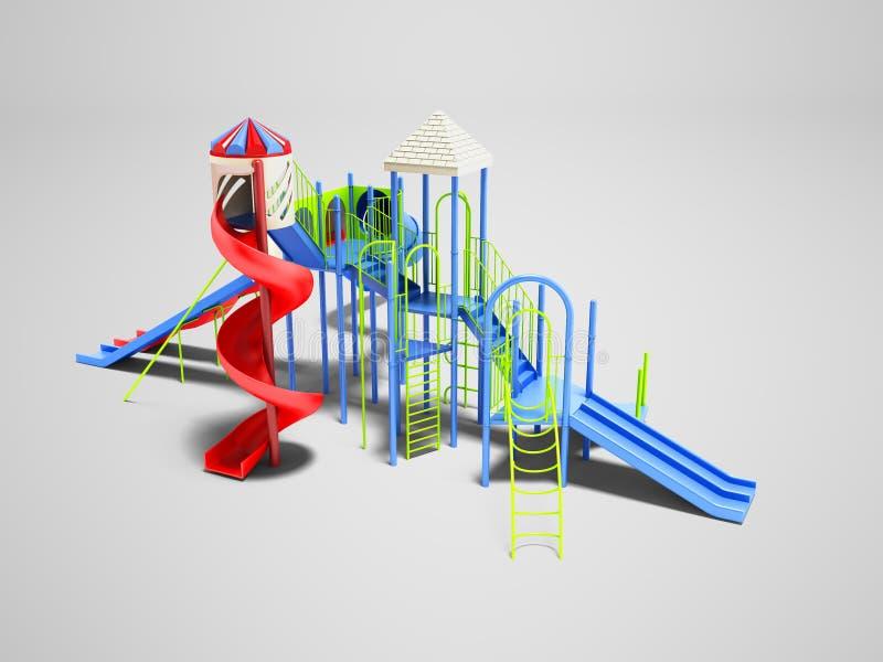 Modern voor aantrekkelijkheid vier van het kinderenwater achtbaan op royalty-vrije illustratie