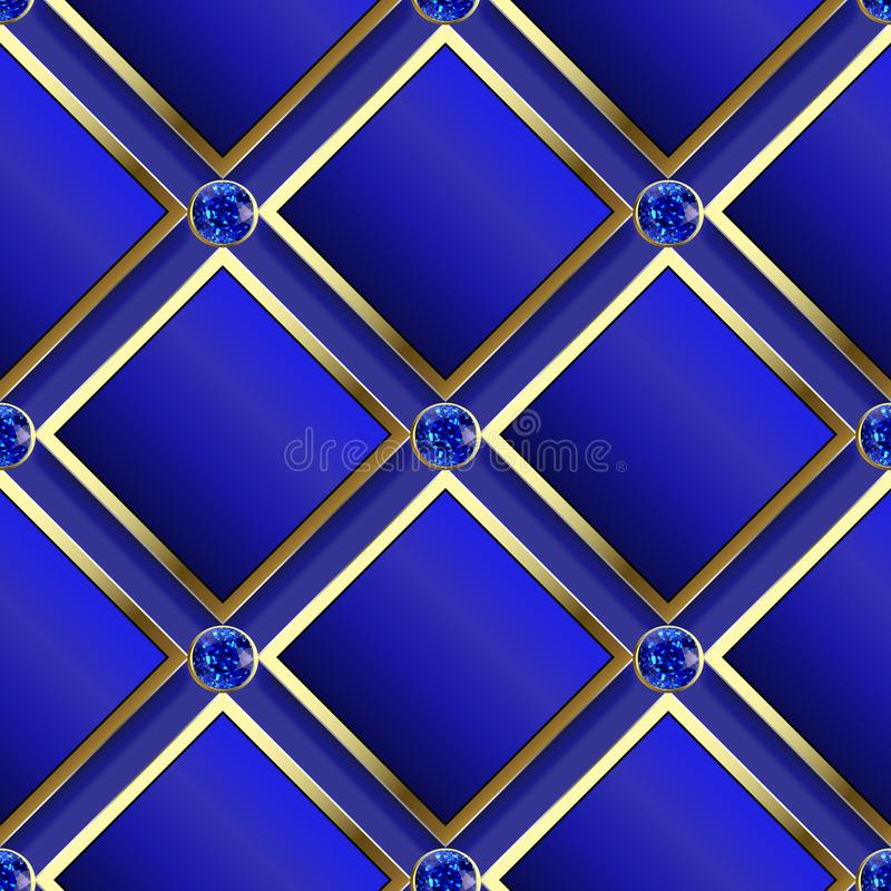 Modern wafel 3d donkerblauw vector naadloos patroon Geometrische sierjuwelenachtergrond 3d ruit en diamanten met goud stock illustratie