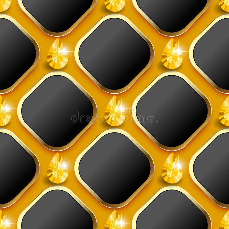 Modern wafel 3d vector naadloos patroon Geometrische sierjuwelenachtergrond 3d ruit en gele glanzende diamanten met goud stock illustratie