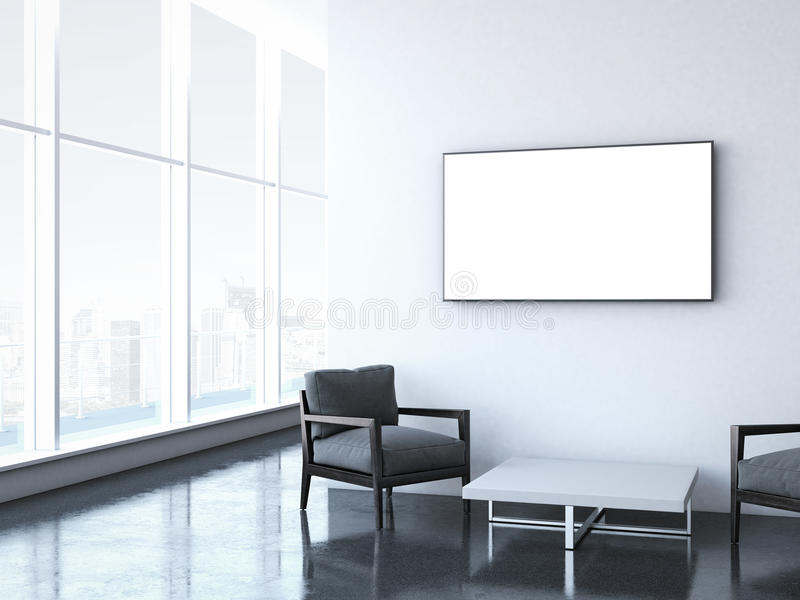 Modern waiting room at office. 3d rendering royalty free illustration