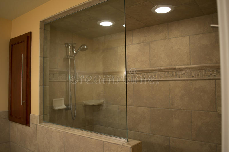 Modern Walk-in Shower stock photo. Image of chrome, home - 17964278