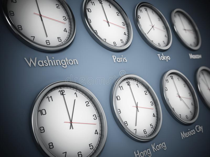Modern wall clocks showing different time zones of world cities. 3D illustration stock illustration