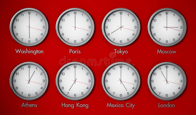 Modern wall clocks showing different time zones of world cities. 3D illustration royalty free illustration