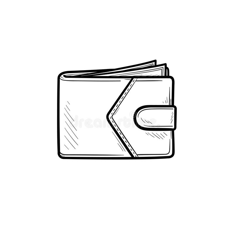 Modern wallet hand drawn outline doodle icon. royalty free illustration