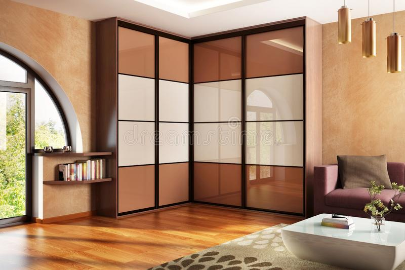 Modern wardrobe in the big house. Modern large wardrobe in the big house royalty free stock image