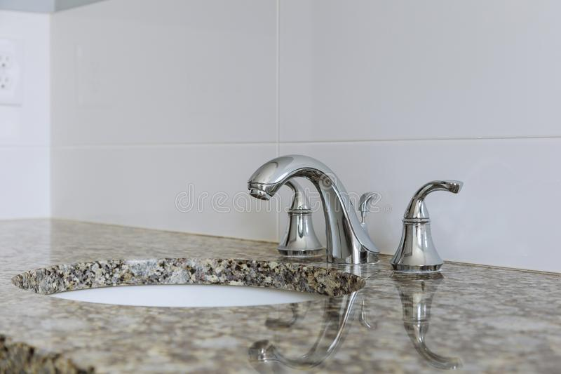 Modern wash basin sink counter of bathroom interior stock photo
