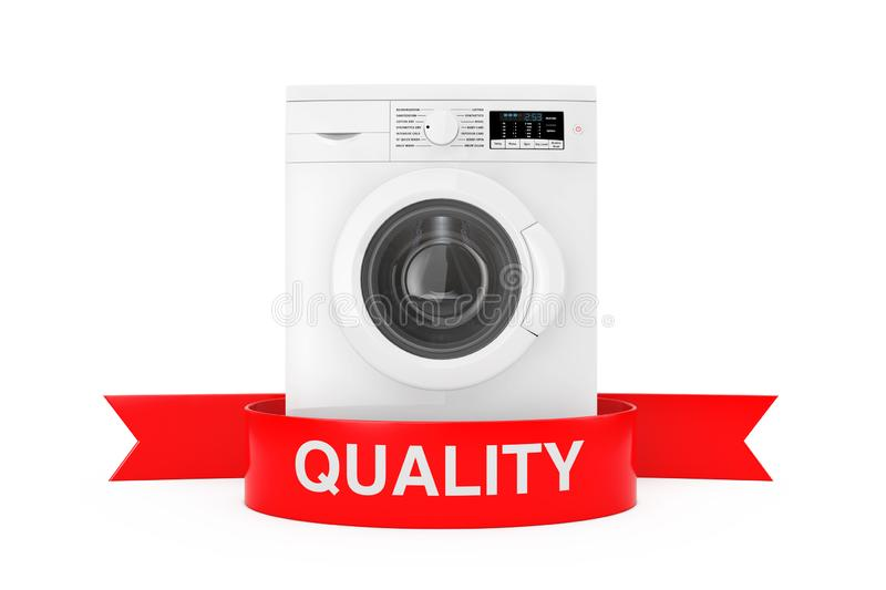 Modern Washing Machine with Red Ribbon Quality Sign. 3d Rendering. Modern Washing Machine with Red Ribbon Quality Sign on a white background 3d Rendering stock illustration