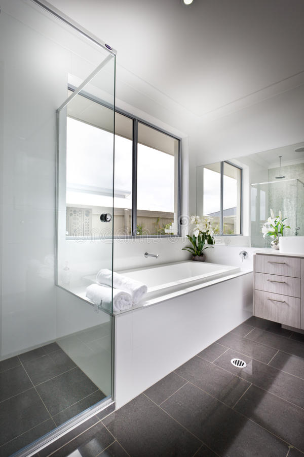 Download Modern Washroom Illuminated With The Sunlight To The Bath Tub  Stock Photo - Image: