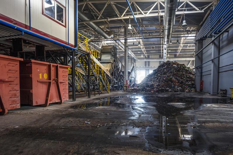 Modern waste recycling processing plant. Separate garbage collection. Recycling and storage of. GRODNO, BELARUS - OCTOBER 2018: Modern waste recycling processing stock photography