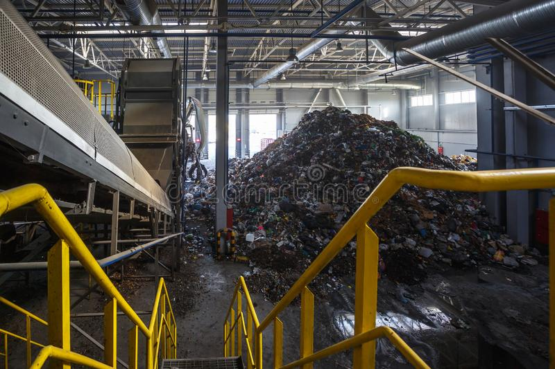 Modern waste recycling processing plant. Separate garbage collection. Recycling and storage of. GRODNO, BELARUS - OCTOBER 2018: Modern waste recycling processing stock photos