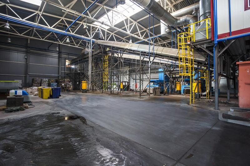 Modern waste recycling processing plant. Separate garbage collection. Recycling and storage of. GRODNO, BELARUS - OCTOBER 2018: Modern waste recycling processing stock photo