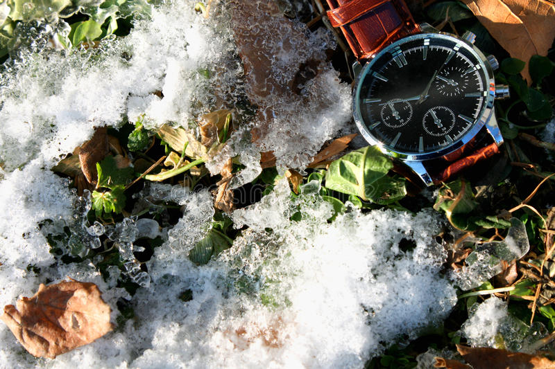 Download Modern watch in the snow stock photo. Image of ground - 83711904