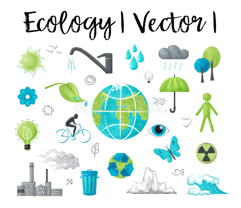 Modern watercolor design vector illustration, concept of ecology and saving earth environment problem stock illustration