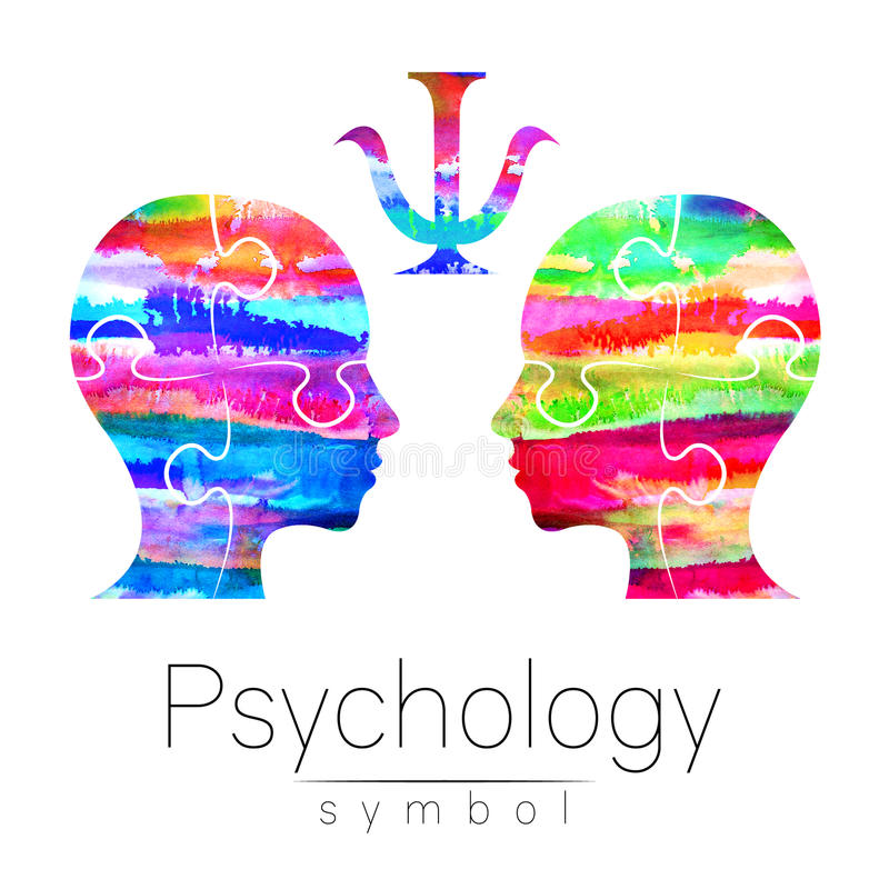 Modern Watercolor head logo of Psychology. Profile Human. Creative style. Logotype in . Design concept. Brand company. Rainbow bright color isolated on white stock illustration