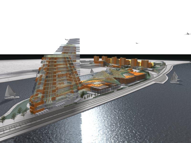 Download Modern waterside buildings stock illustration. Illustration of apartments - 27937055