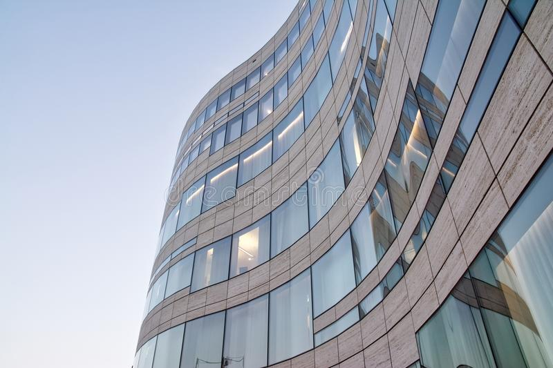 Modern Waving Glass Facade Contemporary Architecture Blue Sky Of royalty free stock photography