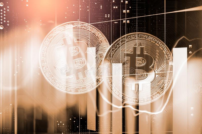 Modern way of exchange. Bitcoin is convenient payment in global economy market. Virtual digital currency and financial investment. Trade concept. Abstract stock photo