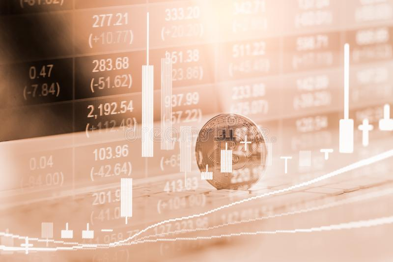 Modern way of exchange. Bitcoin is convenient payment in global economy market. Virtual digital currency and financial investment. Trade concept. Abstract royalty free stock photo
