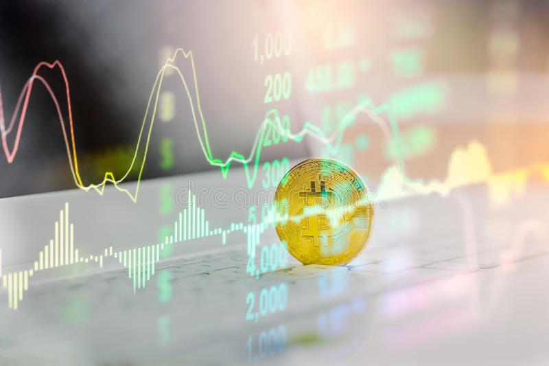 Modern way of exchange. Bitcoin is convenient payment in global economy market. Virtual digital currency and financial investment. Trade concept. Abstract royalty free stock image