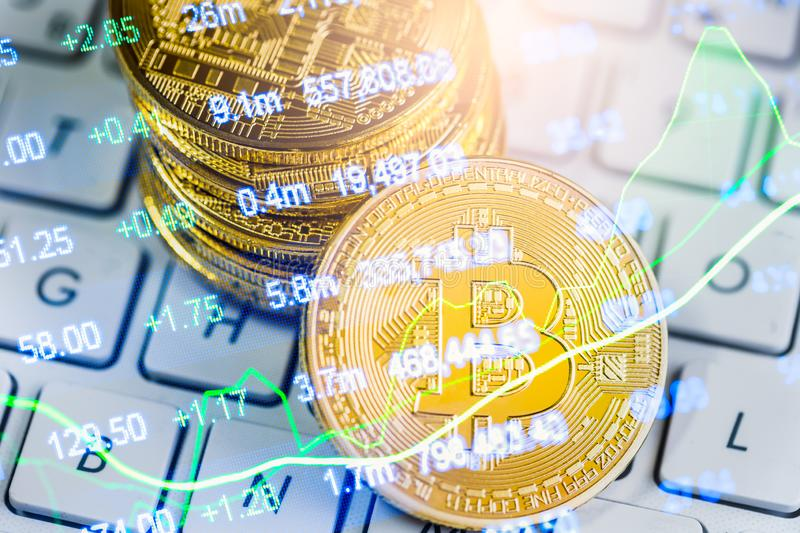 Modern way of exchange. Bitcoin is convenient payment in global economy market. Virtual digital currency and financial investment. Trade concept. Abstract royalty free stock photography