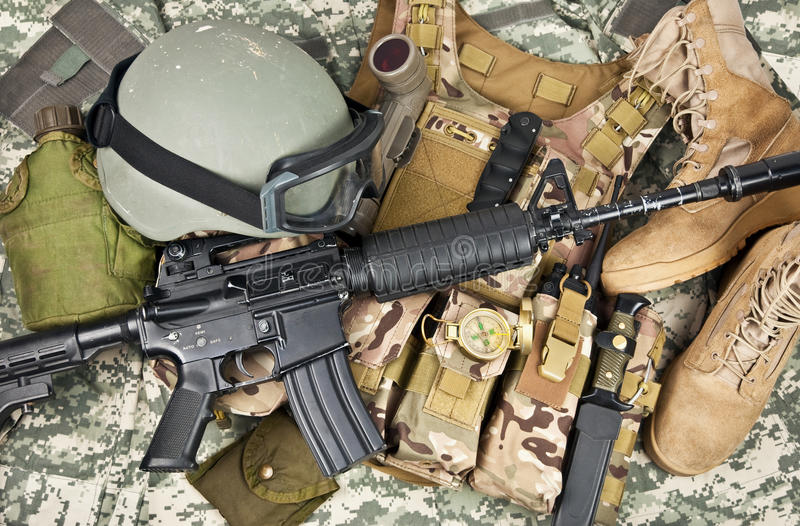 Modern weapons and military equipment. Of special operations forces soldier royalty free stock photos