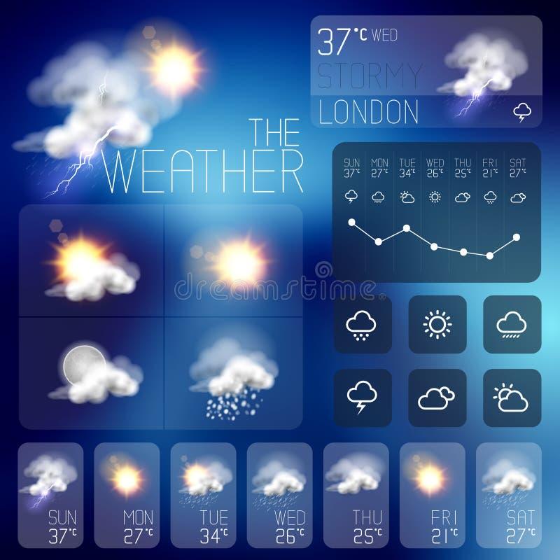 Modern Weather Symbols Royalty Free Stock Images