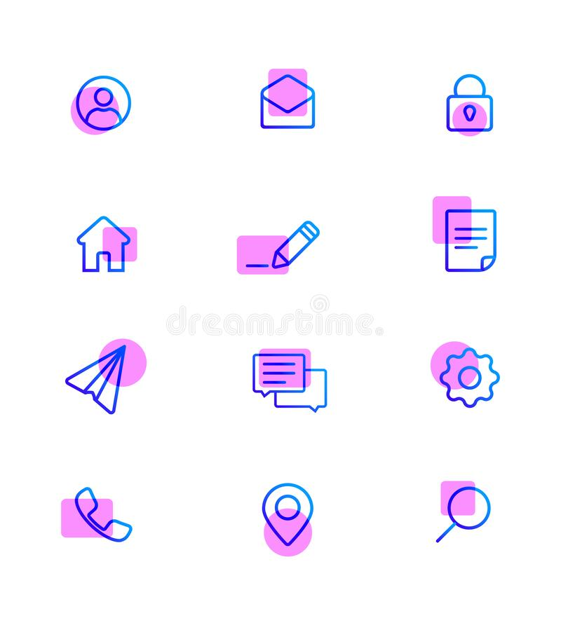 Modern Web Icons pack. Base set icons for site. vector illustration
