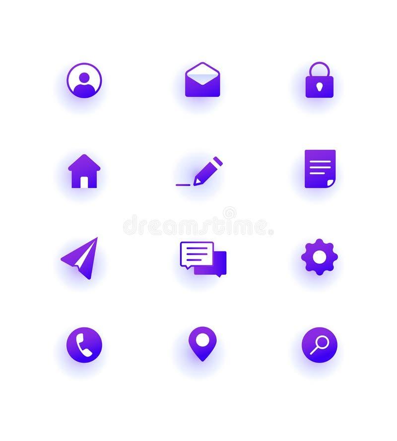 Modern Web Icons pack. Base set icons for site. stock illustration