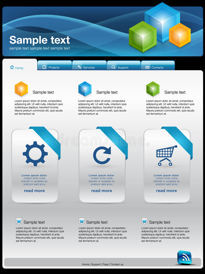 Modern website template. Modern clean website business template royalty free illustration