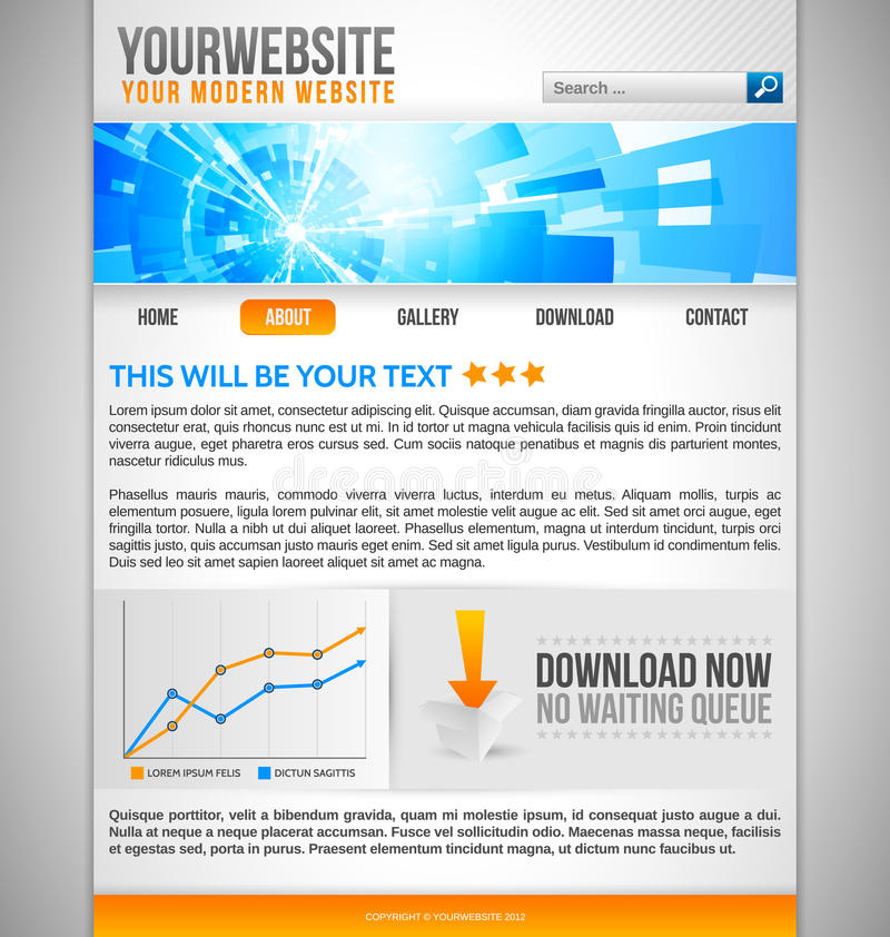 Modern Website Template With Abstract Banner Stock Photo