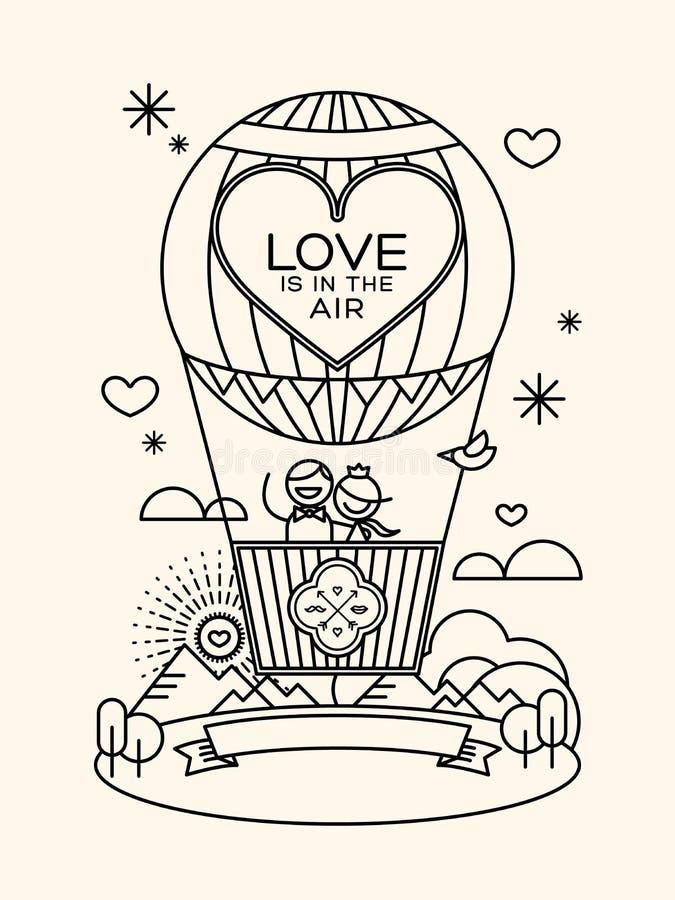 Modern wedding groom and bride pictogram in hot air balloon vector illustration