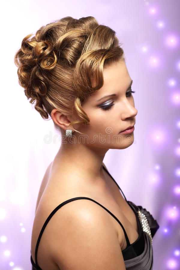 Modern wedding hairstyle stock photography