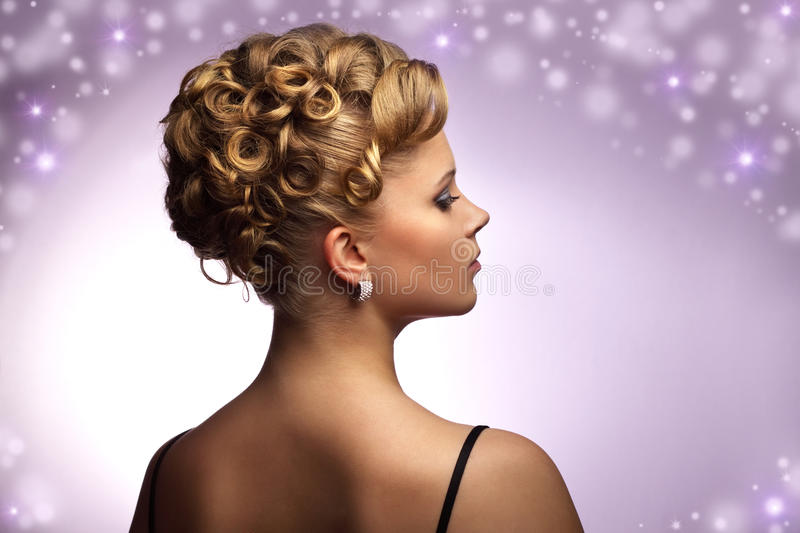 Modern wedding hairstyle royalty free stock photography