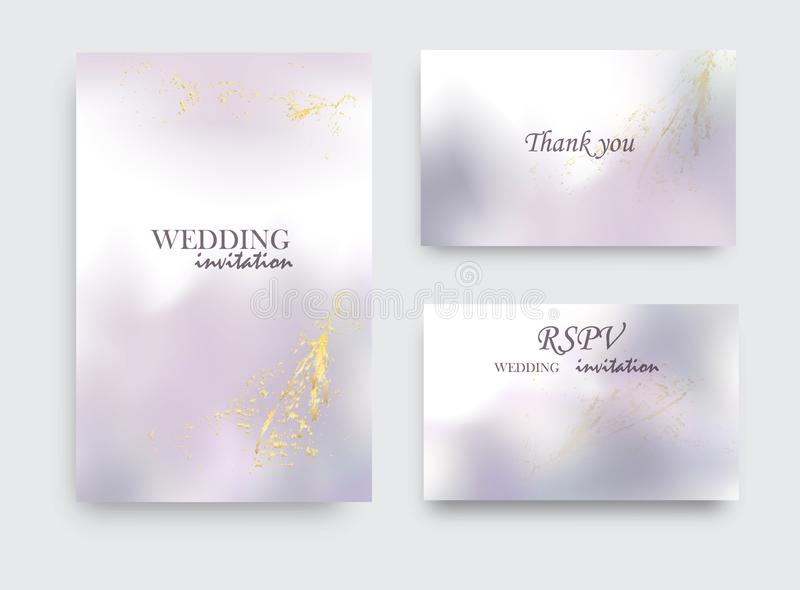 Modern wedding invitation alcohol ink design. Vector set on watercolor ink splash ink violet grey colors. Purple acrylic marble. Liquid design vector illustration