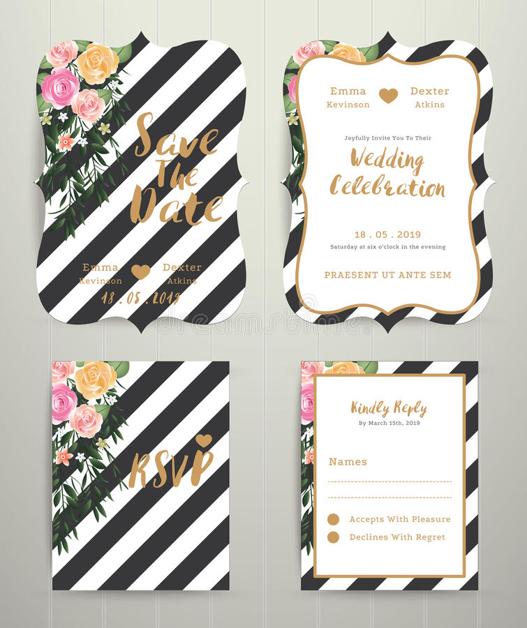 Modern Wedding Invitation Card Set On Black And White Stripe Bac ...