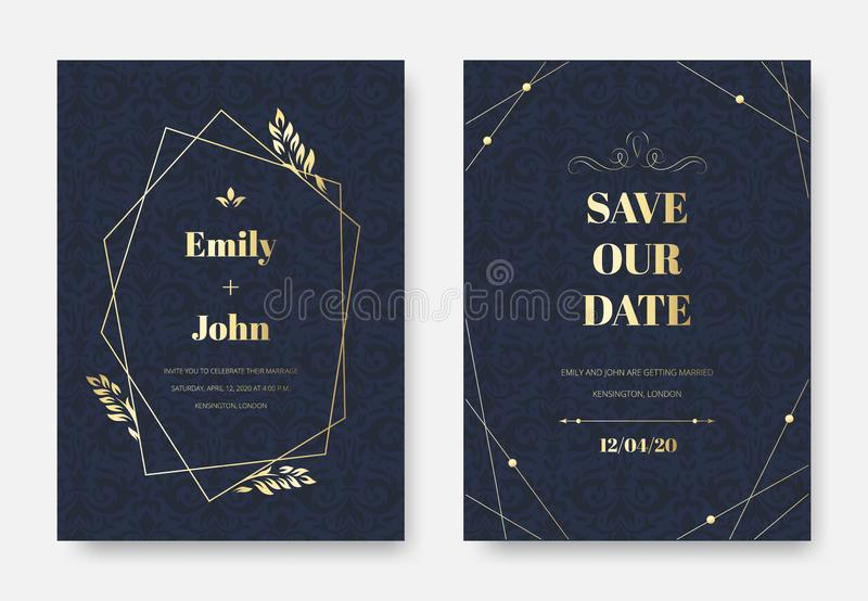 Modern wedding invitation. Elegant invite card, vintage damask floral sprigs ornament pattern and premium label frame vector illustration